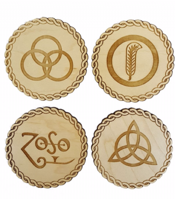 Led Zeppelin Inspired Wooden Zoso Symbol Coasters, Pack of 4 - Choice of Two Wood Types